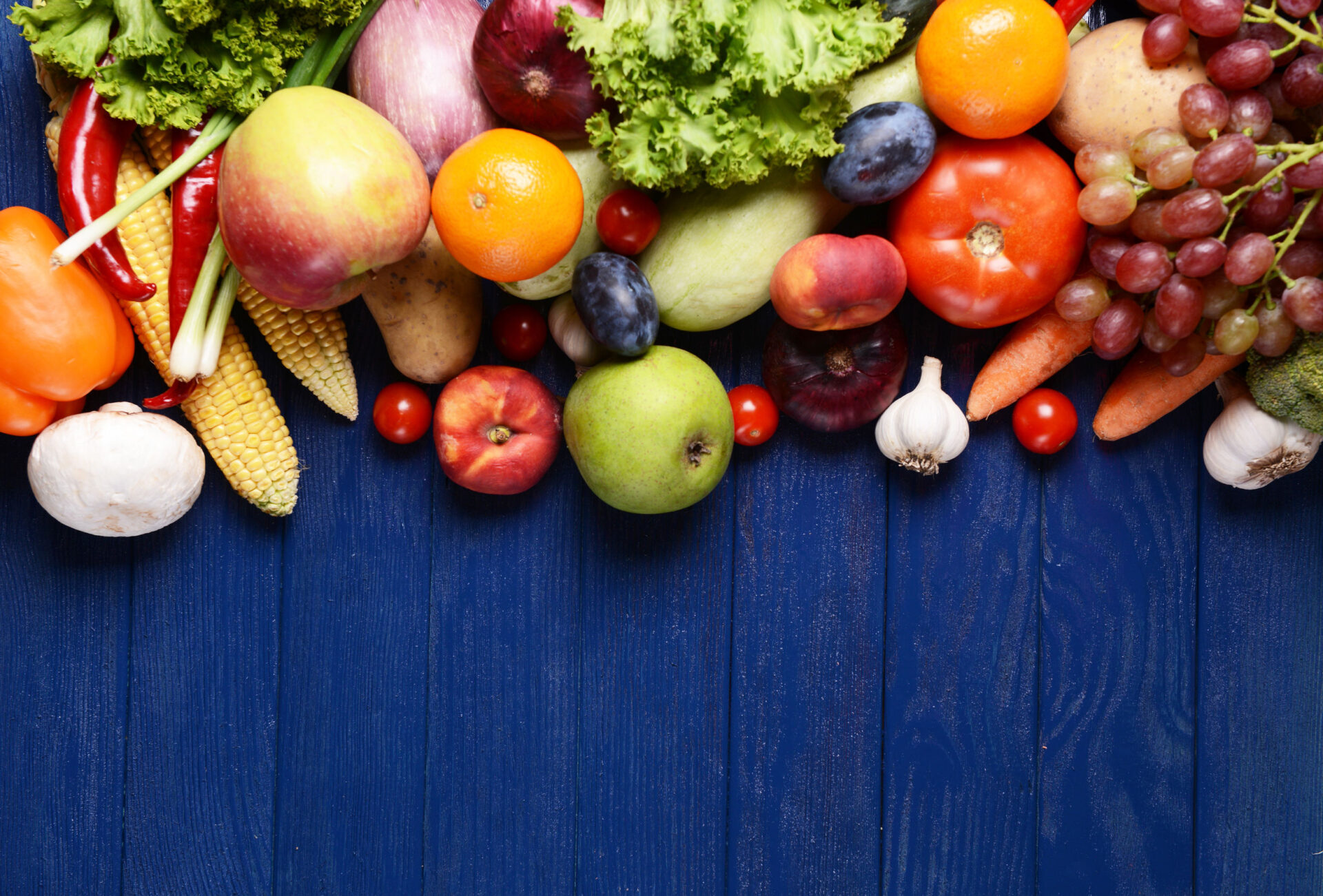 36490757 - fresh organic fruits and vegetables on wooden background