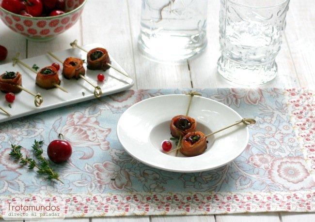 bocaditos de cereza y beicon